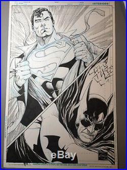 ETHAN VAN SCIVER BATMAN and SUPERMAN SKETCH ORIGINAL ART