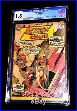 First Supergirl Action Comics #252 Original Authentic May Comic Book Cgc 1.8