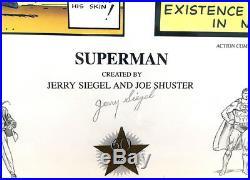 JERRY SIEGEL Origins Of Superman LIMITED EDITION SIGNED FINE ART PRINT 125/500
