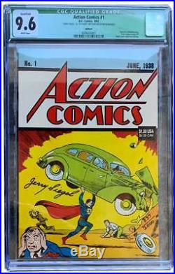 Jerry Siegel Signed Action #1 Reprint Cgc 9.6 Plus Unsigned Copy Cgc 9.6! Combo