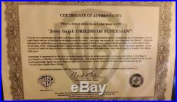 Jerry Siegel signed and numbered Origins of Superman cel
