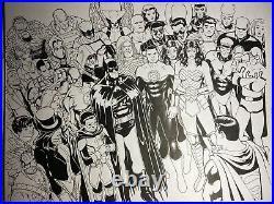 KEVIN MAGUIRE SUPERMAN HEROES original double page spread DC superheroes