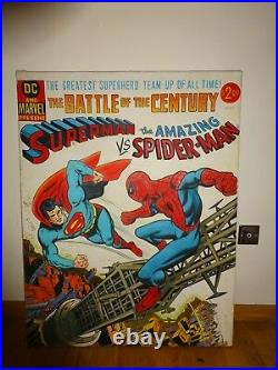 Original Large Oil Painting Comic Book Superman Vs Spider-man