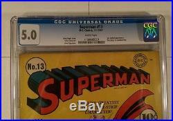 SUPERMAN #13 D. C. Comics, 11-12/1941 CGC Graded 5.0 VG/FN