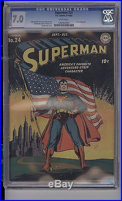 Superman #24 Cgc 7.0 F/vf White Pages! Classic Flag Cover! Very Strict 7.0