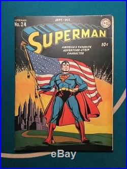 Superman 24 Classic Flag Cover Rare D. C. Early App 1943 Very Nice