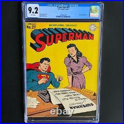 SUPERMAN #27 (DC 1944) CGC 9.2 WHITE PGs ONLY 4 HIGHER! Toyman Appearance