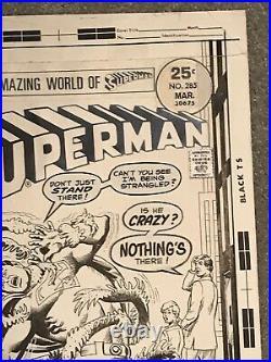 SUPERMAN #285 ORIGINAL COMIC BOOK COVER ART NICK CARDY 1975 Bronze Age rare