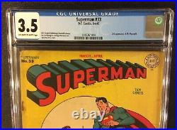 SUPERMAN #33 Comic Book CGC 3.5 DC 1945 Golden Age 10 Cent MR MXYZTPLK