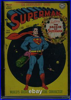 SUPERMAN #53 CGC-3.5, OW Classic cover Origin of Superman retold