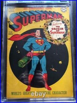 SUPERMAN #53 CGC FN- 5.5 CM-OW origin of Superman retold! Major key