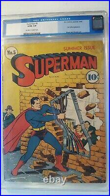 SUPERMAN # 5 4th LEX LUTHOR SUMMER 1940 CGC 3.0 OFF WHITE TO WHITE PAPER