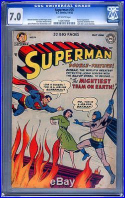Superman #76 Cgc 7.0 Off-white Ow 5-6/52 DC Golden Age Batman Appearance