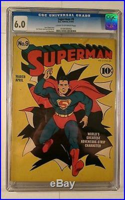 SUPERMAN #9 D. C. Comics, 3-4/1941 CGC Graded 6.0 FINE