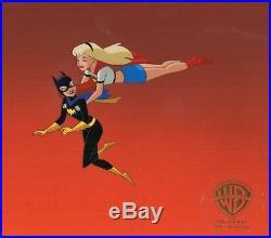 SUPERMAN Animated Series Supergirl Batgirl animation cel+BACKGROUND Warner Bros