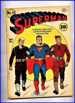 SUPERMAN COMICS #12 Superman goes to war 1941 Luthor appearance WWII CVR
