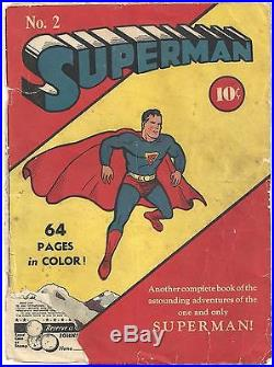 SUPERMAN No. 2 Comic (1939) Original Front & Back Cover Only. No Inside Pages