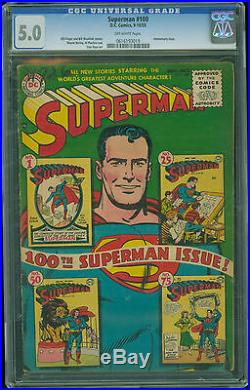 Superman #100 CGC 5.0 VG/Fine Off White Pages Classic Anniversary Issue 1955 DC