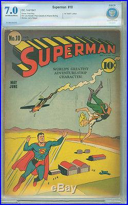 Superman 10 CBCS 7.0 F/VF OWithW DC 1941 1st Bald Lex Luthor Undervalued Key Issue