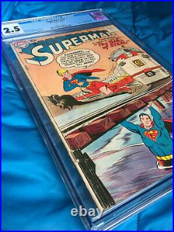 Superman #123 CGC 2.5 Supergirl Tryout Issue KEY GOLDEN AGE COMIC BOOK