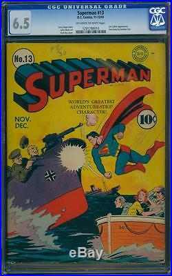Superman 13 CGC 6.5 OWithW Golden Age Key DC Comic Hi Grade Book IGKC L@@K
