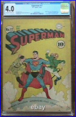 Superman #17 DC 1942 Hitler & Tojo Cover 1st Fortress of Solitude CGC 4.0