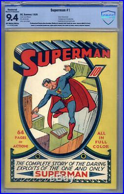 Superman #1 CBCS 9.4 (R) Origin by Siegel & Shuster, Superman Pin-Up Back Cover