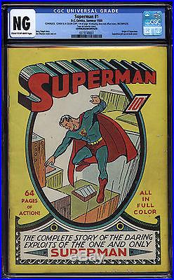 Superman #1 Unrestored Cream To Off-white Interior Pages Cgc Pgx Cbcs! 1
