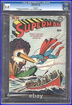 Superman #20 CGC 5.0 DC 1943 Rare WHITE pages! WW II Cover! Clean 602 1 E3 cm