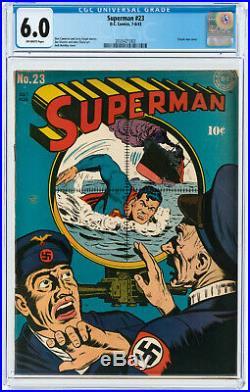 Superman #23 CGC 6.0 DC 1943 Key Golden! Classic War Cover! Rare! K7 203 1 cm