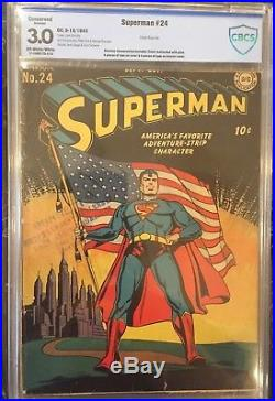 Superman 24 CBCS 3.0 Conserved. Classic Flag Cover! OWithW pages