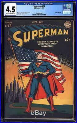 Superman #24 CGC 4.5 DC 1943 Classic Flag Cover! JLA Batman Flash G5 306 1 cm