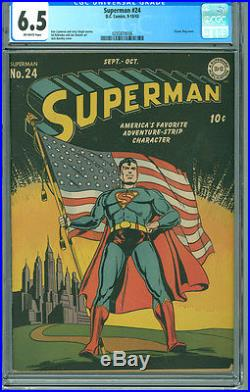 Superman 24 CGC 6.5 FN+ OW DC 1943 Classic Patriotism American Flag Cover