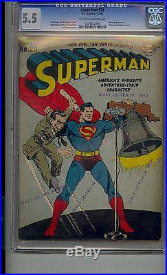 Superman #26 Cgc 5.5 Classic Wwii Cover By