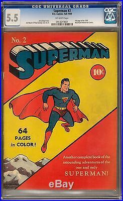 Superman #2 CGC 5.5 (OW) Rare Classic Cover