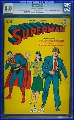 Superman 30 CGC 8.0 OWithW Golden Age Key DC Comic 1st Mr. Mxyztplk IGKC L@@K