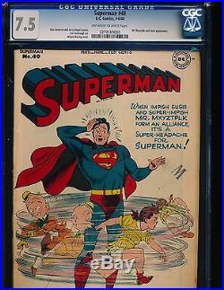Superman # 40 Wayne Boring Mr. Mxyzptlk cover CGC 7.5 OWithWHITE Pgs