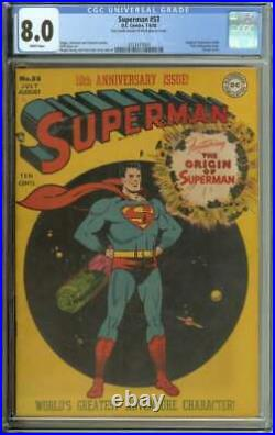 Superman #53 Cgc 8.0 White Pages // Origin Retold Classic Cover