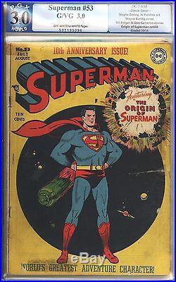 Superman #53 Vol 1 PGX 3.0 Unrestored Rare Classic Cover Origin of Superman 1948