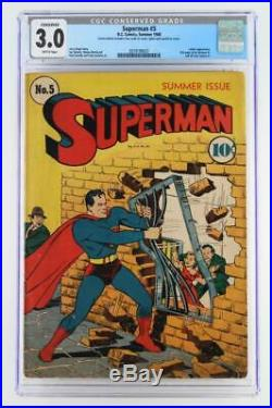 Superman #5 Conserved CGC 3.0 GD/VG DC 1940 Luthor App