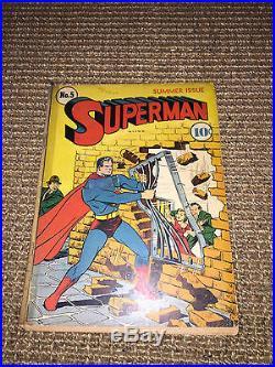 Superman 5 Summer 1940 DC 4th Lex Luthor RARE KEY