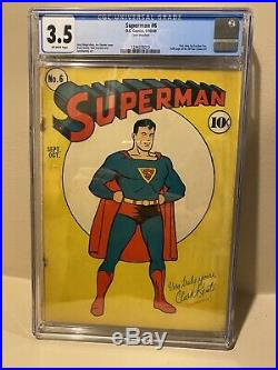 Superman #6 CGC 3.5 DC 1940 All Star Comics 1 Ad Siegel Shuster Burnley
