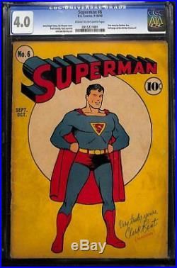 Superman #6 CGC 4.0 DC 1940 Ad for All Star Comics #1! H9 911 cm clean