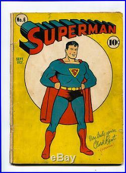 Superman #6 G/VG Early Golden Age AMAZING 10c 1st Splash DC Comic Action Vintage