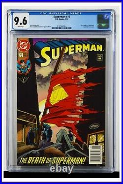 Superman #75 CGC Graded 9.6 DC 1993 Newsstand Edition Gatefold Cover Comic Book