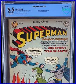 Superman #76 (1952) Cbcs 5.5 Ow Batman & Superman Meet & Learn Identities