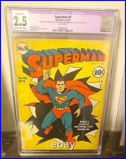 Superman #9 1941 CGC Restored, Hard to find book