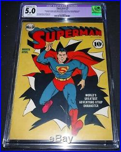 Superman #9 CGC 5.0 Slight/Moderate Restoration