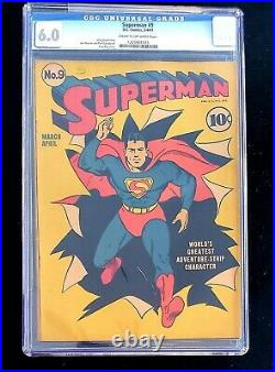 Superman 9 CGC 6.0 Classic Fred Ray Cover Siegel/Shuster art All Star #1 Ad