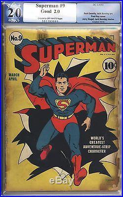 Superman #9 Vol 1 PGX 2.0 Unrestored Rare Classic Cover 1941